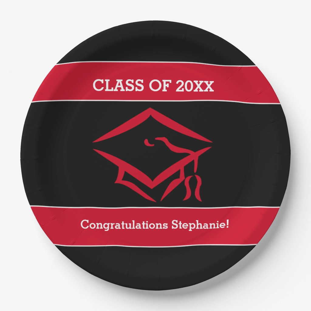 Black and Red Mortarboard Graduation Party