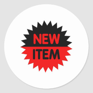 Black and Red New Item Classic Round Sticker