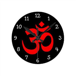Black and Red Om Symbol Round Clock