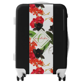 Black and Red Orchids Art Watercolor Monogram Luggage