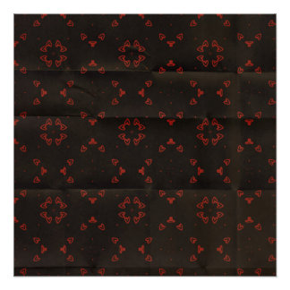 Black and Red Pattern Creased Background Poster
