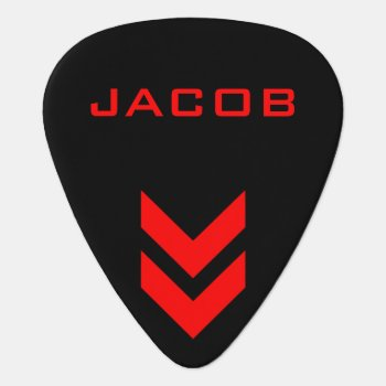 Black And Red Personalized Name Guitar Pick by ShabzDesigns at Zazzle