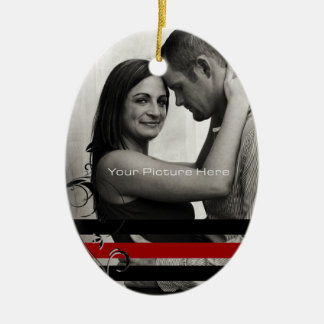 Black and Red Photo Engagement Ceramic Ornament