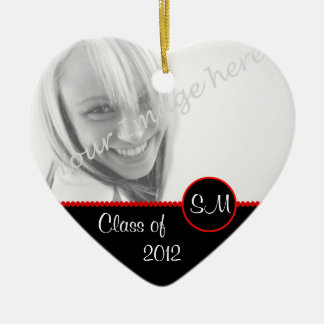 Black and Red Photo Graduation Ornament