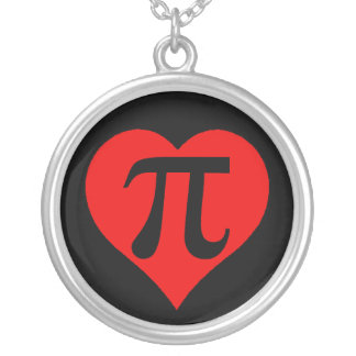 Black and Red Pi Heart Round Pendant Necklace