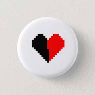 Black and red pixel heart button
