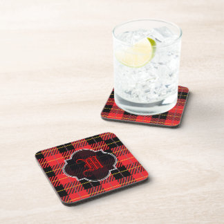 Black and red Plaid Beverage Coaster