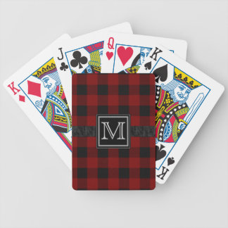 Black and Red Plaid Monogram Bicycle Playing Cards