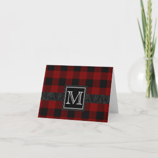 Black and Red Plaid Monogram Note Card