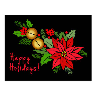 Black and Red Poinsettia Christmas Card