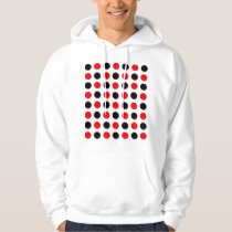 Black and Red Polkadots Pattern Hoodie
