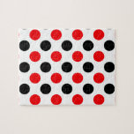 "Black and Red Polkadots Pattern Jigsaw Puzzle<br><div class=""desc"">A pattern of polka dots in black and red color scheme set on a transparent background.</div>"