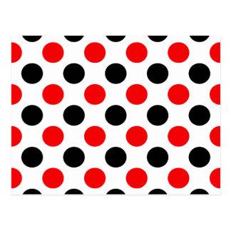Black and Red Polkadots Pattern Postcard