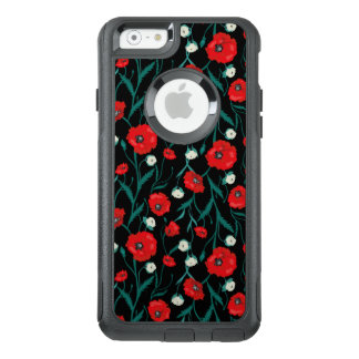 Black and red Poppies and Roses floral Pattern OtterBox iPhone 6/6s Case