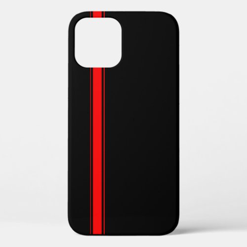 Black and Red Racing Stripe Phone Case