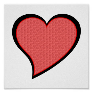 Black And Red Rose Filled Heart Poster