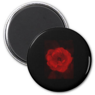 Black and Red Rose. 2 Inch Round Magnet