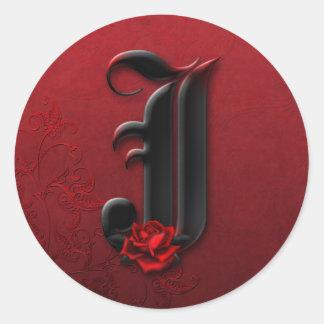 Black and Red Rose Monogram J Sticker