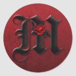 Black and Red Rose Monogram M Sticker