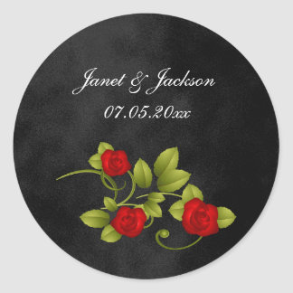 Black and Red Rose Wedding Classic Round Sticker
