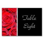 Black and Red Roses Table Cards