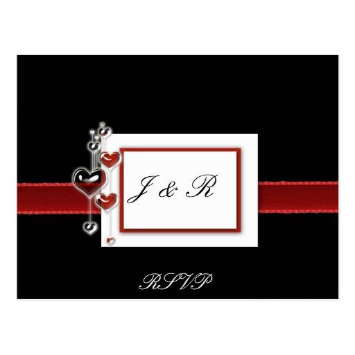 Black and Red RSVP card Postcard