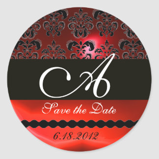 BLACK AND RED RUBY DAMASK MONOGRAM, CLASSIC ROUND STICKER
