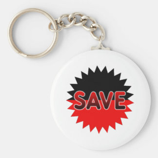 Black and Red Save Keychain
