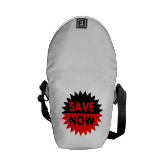 Black and Red Save Now Messenger Bag