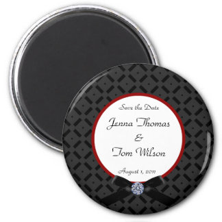 Black and Red Save the Date Magnet