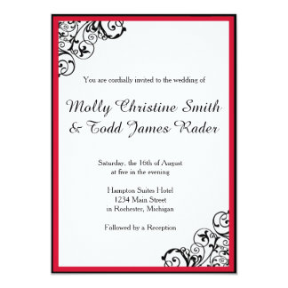 Black and Red Scroll Invite