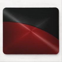 Black and Red Shiny Stainless Steel Metal Mouse Pad