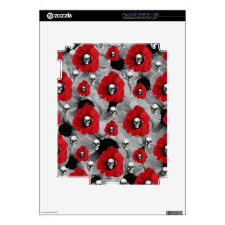 Black and red skull poppies polka dots iPad 2 skins