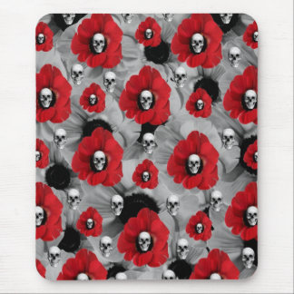 Black and red skull poppies polka dots mouse pad