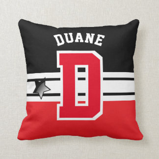 Black and Red Sport Letter Pillow
