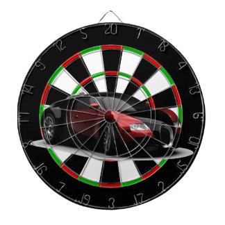 Black and red sports car dartboard with darts