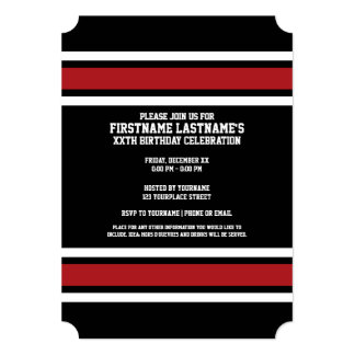 Black and Red Sports Jersey Custom Name Number 5x7 Paper Invitation Card