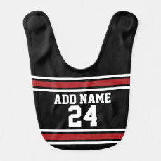 Black and Red Sports Jersey Custom Name Number Baby Bib