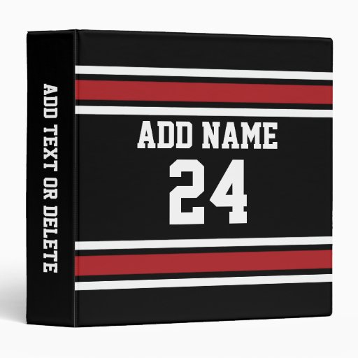 Black and Red Sports Jersey Custom Name Number Binder