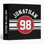 Black and Red Sports Jersey Custom Name Number Binders