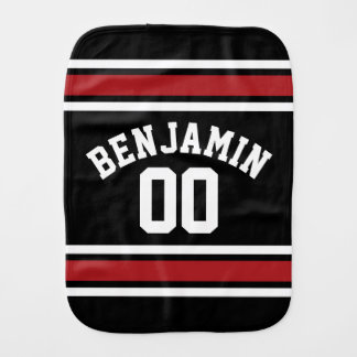 Black and Red Sports Jersey Custom Name Number Burp Cloth