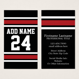 Black and Red Sports Jersey Custom Name Number Business Card