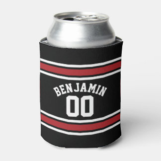 Black and Red Sports Jersey Custom Name Number Can Cooler