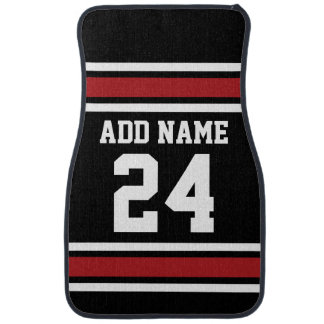 Black and Red Sports Jersey Custom Name Number Car Mat