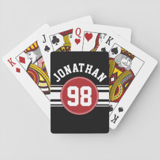 Black and Red Sports Jersey Custom Name Number Card Deck