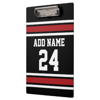 Black and Red Sports Jersey Custom Name Number Clipboard