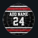 "Black and Red Sports Jersey Custom Name Number Dartboard With Darts<br><div class=""desc"">If you are a Fantasy Football team owner,  make your own products and show off to your friends! Or - Do you play High School Football and want a memento? This sports design is perfect for any athlete playing soccer or baseball.</div>"