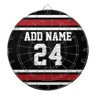 Black and Red Sports Jersey Custom Name Number Dartboard With Darts