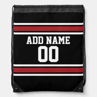Black and Red Sports Jersey Custom Name Number Drawstring Backpack