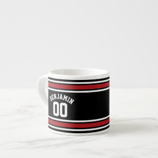 Black and Red Sports Jersey Custom Name Number Espresso Cup